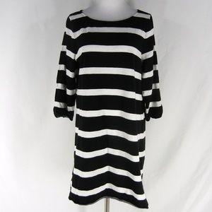 J.CREW Stripe Shirttail Dress L Slub Cotton Knit